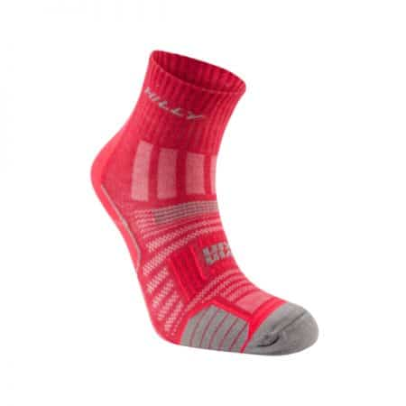 Hilly Twinskin Anklet Womens Running Sock Magenta Grey Marl