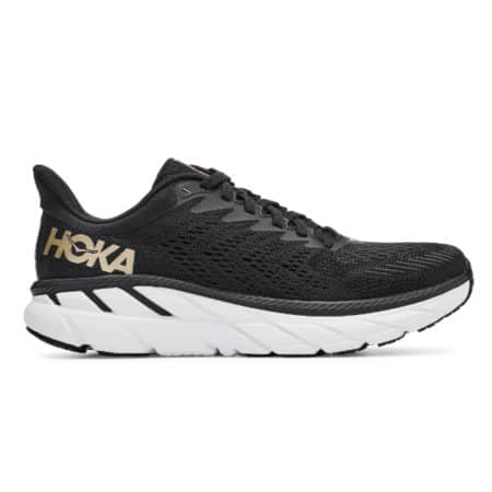 Hoka Clifton 7 Womens Road Running Shoe Black Bronze White